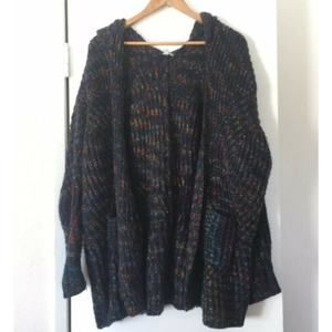UO Ecote Chunky Knit Hooded Cardigan Sweater